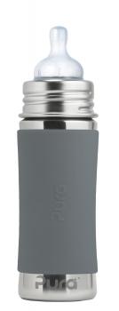 Pura Kiki Babyflasche 325 ml mit Silikonsauger und wahlweise mit farbigem Sleeve, garantiert plastikfrei!